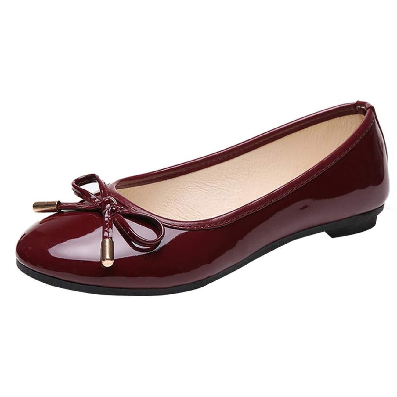 Chaussures Femme De Mode Femmes Rondes Orteil Plat Papillon-Noeud Loisirs Confortables Chaussures HCFKJ-Js
