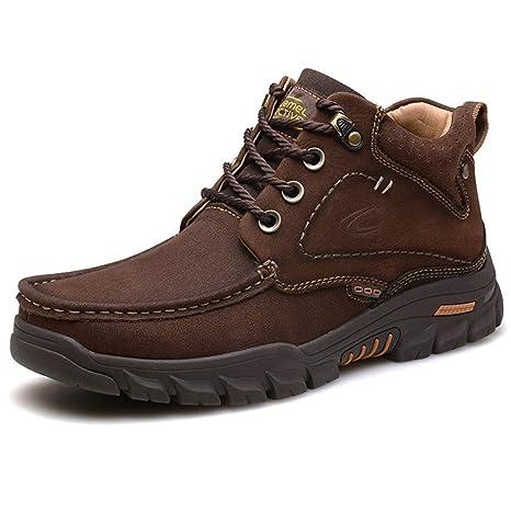 Gfphfm-shoes Botas de Combate para Hombre Gamuza Otoño Invierno Vintage Botas británicas Senderismo Zapatos