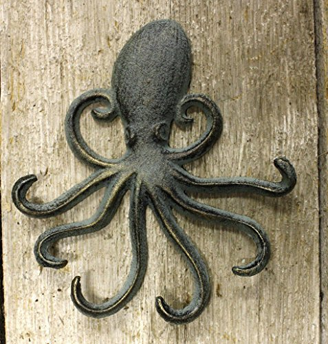 Vintage Antique Hooks 2 Heavy Cast Iron Octopus Towel Hanger Coat Hooks Hat Hook, Key Rack - Iron Cast Hat Coat