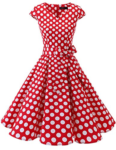 DRESSTELLS Retro 1950s Cocktail Dresses Vintage Swing Dress with Cap-Sleeves Red White Dot S ()
