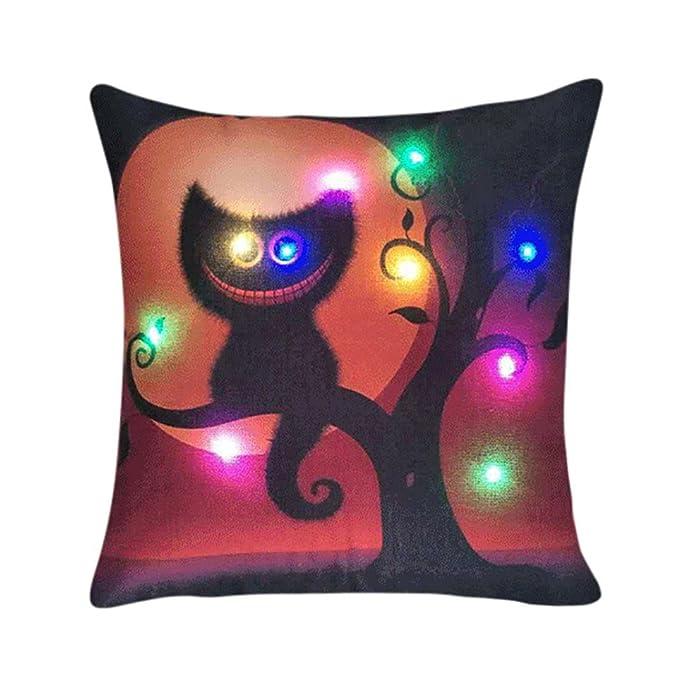 Salbota Funda de Almohada, Navidad iluminación LED Funda de cojín decoración para el hogar Manta Almohada sofá Intermitente, BA, 45 x 45cm: Amazon.es: Hogar