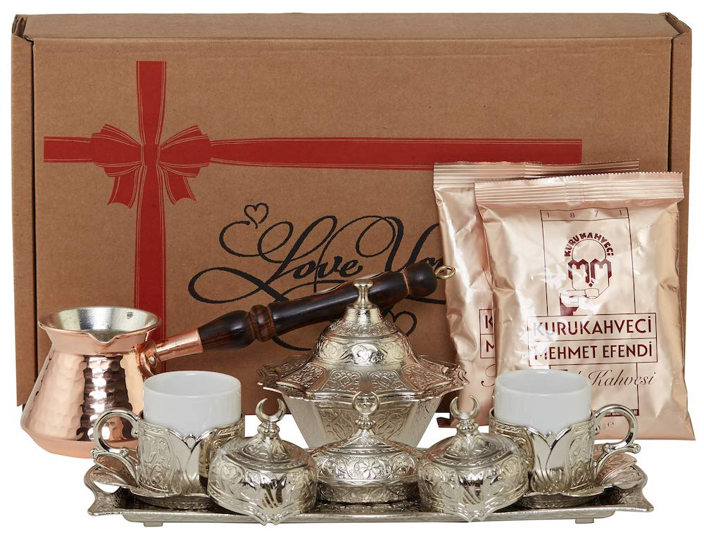 ''Silver'' 16 Pieces Turkish Greek Arabic Coffee Set with Cups Saucers Copper Pot Sugar Bowl and Coffee