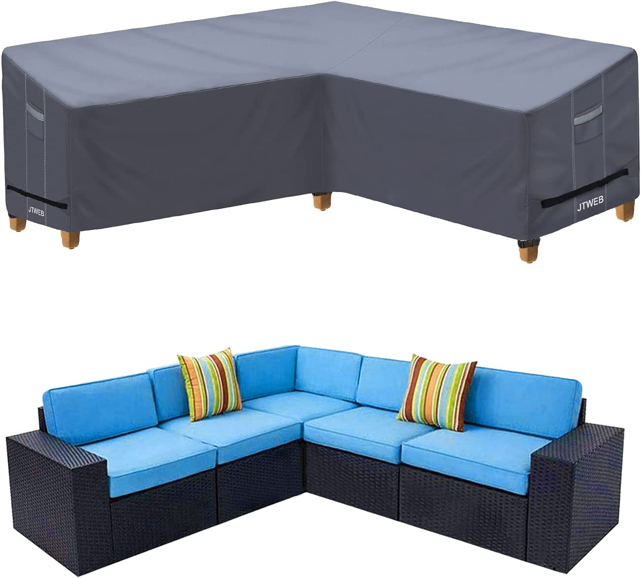 Heavy Duty Outdoor Sectional Sofa Cover , 100