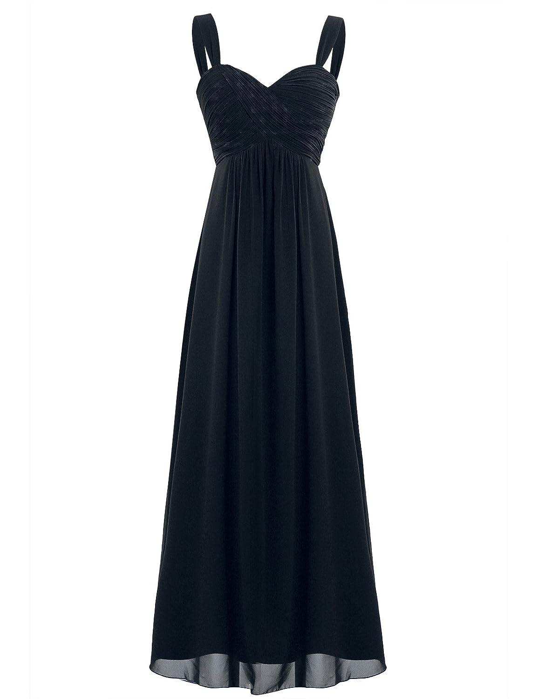 TALLA 38. Freebily Vestido Largo de Fiesta Cóctel Boda para Mujer Dama de Honor Vestido Noche Elegante de Tirantes Negro 38