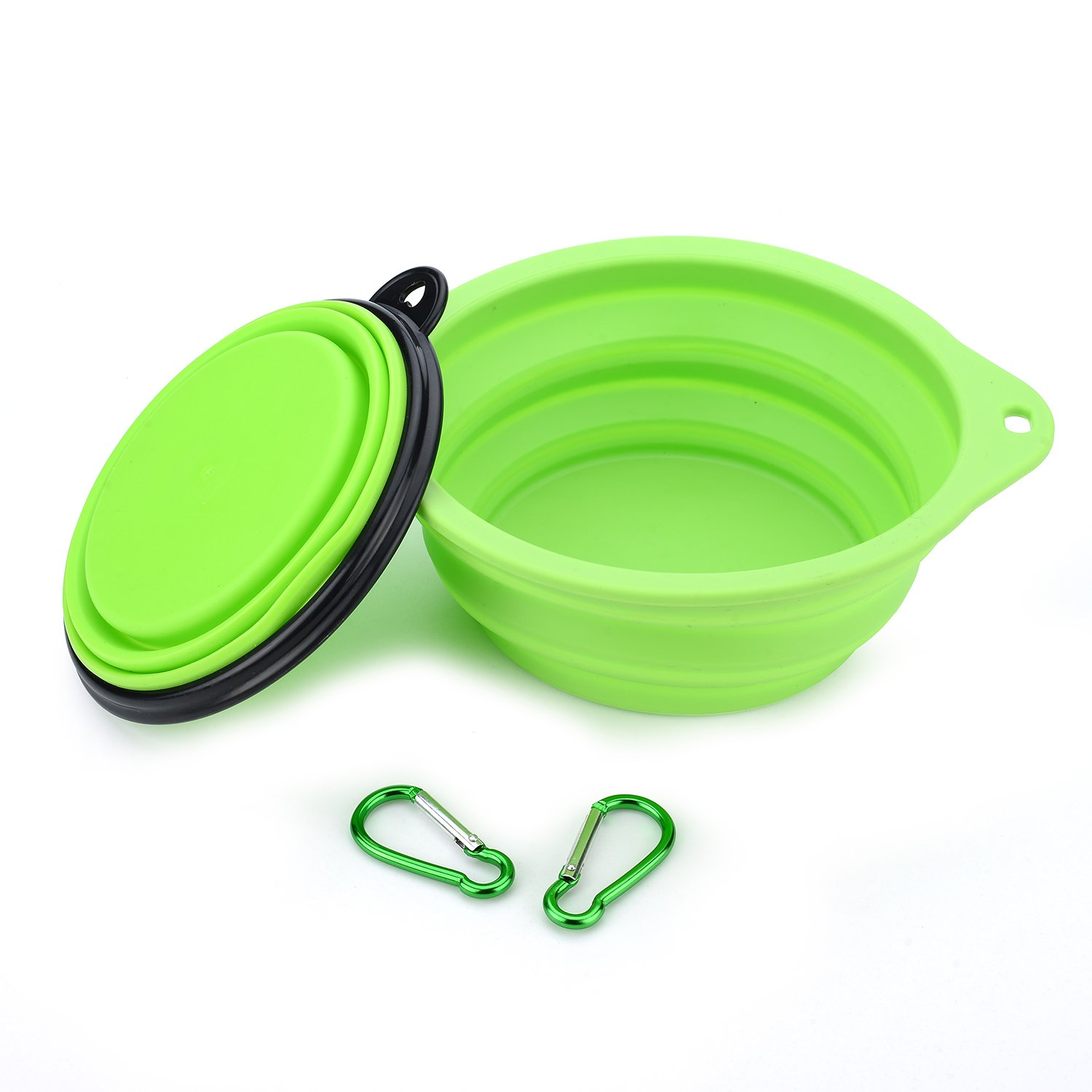 MR.BIGER IDEGGFood Grade Silicone Foldable Expandable Cup Dish for Pet Dog Food Water Feeding Portable, Travel Bowl, Collapsible Silicone Pet Bowl, A large one and a small one (GREEN)