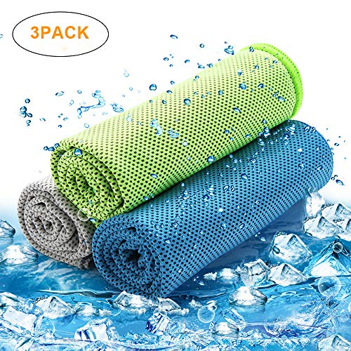 isnowood [3 Pack] Cooling Towel - Multi-Functional Ice Towel Sports, Running, Gym, Fitness, Workout, Golf, Yoga, Camping, Hiking, Travel & More Activities | Instant Cooling Relief Chilling Neck Wrap