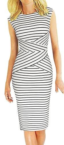 Babyonline Women's Summer Striped Sleeveless Wear to Work Casual Party Pencil Dress