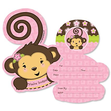 Amazon pink monkey girl shaped fill in invitations baby pink monkey girl shaped fill in invitations baby shower or birthday party invitation filmwisefo