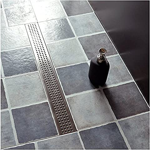 Neodrain Linear Shower Drain with Height adjustable Quadrato Pattern Grate, 24-Inch, Brushed 304 Stainless Steel, With WATERMARK&CUPC - Brushed Stainless Adjustable Flange