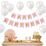 Pink Happy Birthday Banner Letter Balloons Decorations Kit-30 Pcs White Balloons 12inch to DIY Kids Girls Birthday Party Sign Baby Shower Party Flag Bunting Supplies+Balloon String