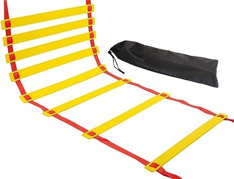 Natuce escalera de agilidad, 6m Escalera de Formación de velocidad, Entrenamiento de velocidad Kit de 12 de escalón, de bienestar rápida ajustable Piso en entrenamiento de la agilidad y ejercicios de pies: