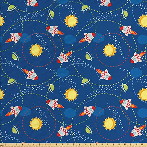 Ambesonne Space Fabric by The Yard, Cute Little Cartoon Rocket with Circular Flight Path and UFOs Sun Polka Dots Skyline, Decorative Fabric for Upholstery and Home Accents, 1 Yard, Multicolor