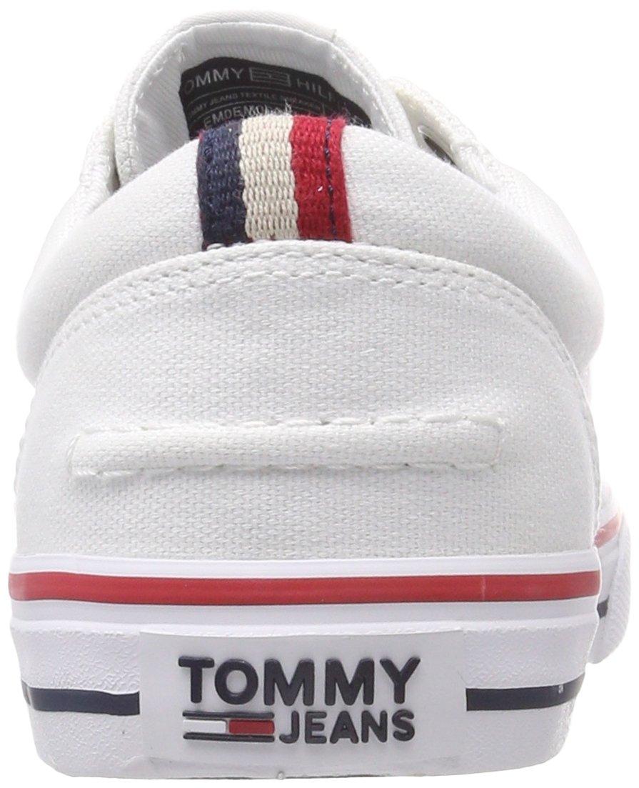 7aec78f51 Hilfiger Denim Men's Tommy Jeans Textile Low-Top Sneakers, White (White  100), 10.5 UK (45 EU): Amazon.ae