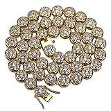 TOPGRILLZ 14K Hip Hop CZ Lab Diamond Rhinestone Tennis Chain Necklace (Gold 20'')