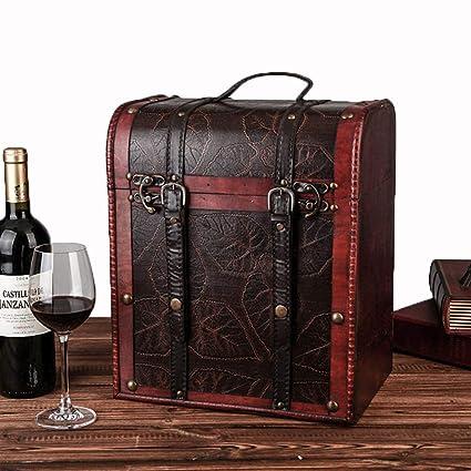 Juego De Cajas De Vino / 6 Botellas Caja De Presentación De Vinos/Portador De