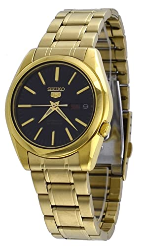 Seiko 5 #SNKL50 Men's Gold Tone Stainless Steel Black Dial Automatic Watch