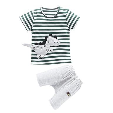 2d2dc8abe Felicy Toddler Kids Baby Boys Girls Short Sleeve Pajamas Stripe ...