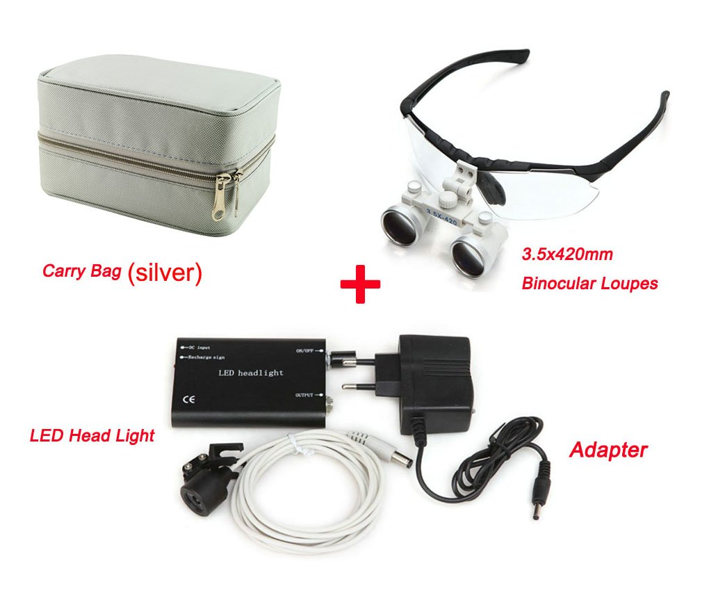 Zinnor Dental Surgical Medical Binocular Loupes Optical Glass Loupe 3.5 x 420mm + Dental LED Head Light Lamp + Carry Bag (Silver)