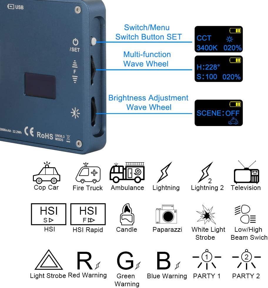 2500K-9000K Adjustable CRI: 97 Multiple Scenario Mode Falcon Eyes F7 RGB Led Pocket Fill Light 0-100/% Stepless Dimming Built-in Battery for Vlog Live Video Film Maker OLED Display YouTube