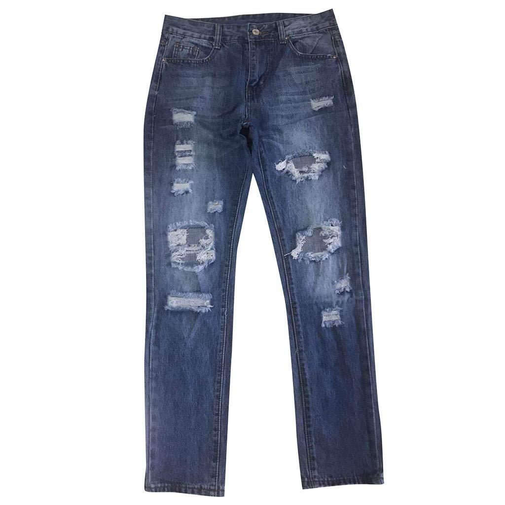 Aberimy Jeans Damen Stretch Jeanshose Denim Hose R/öhrenjeans Baumwolle Loch Mode Slim Fit Stylische Aush/öhlen Zerrissene Boyfriend L/ässig Skinny Jeans Hose