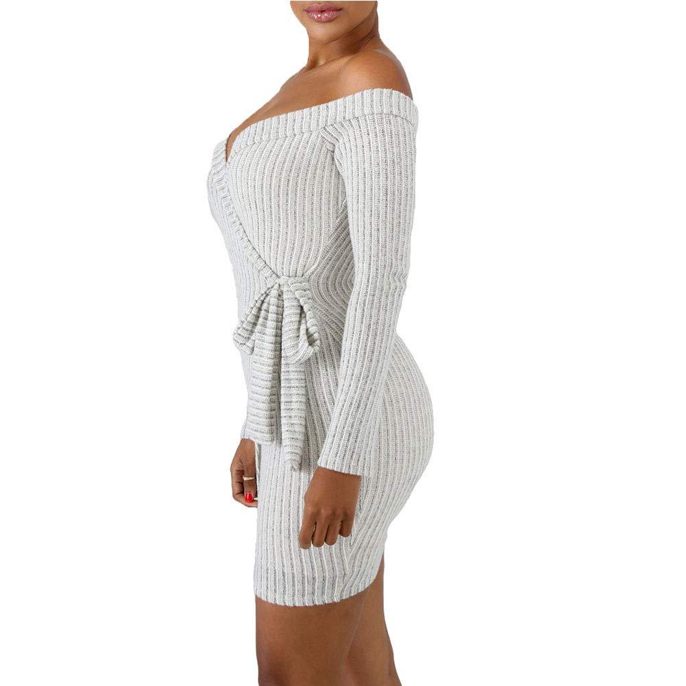 Miss-Loly Women Sexy Off Shoulder Low-Cut Backless Bandage Bodycon Clubwear Mini Club Evening Party Dress