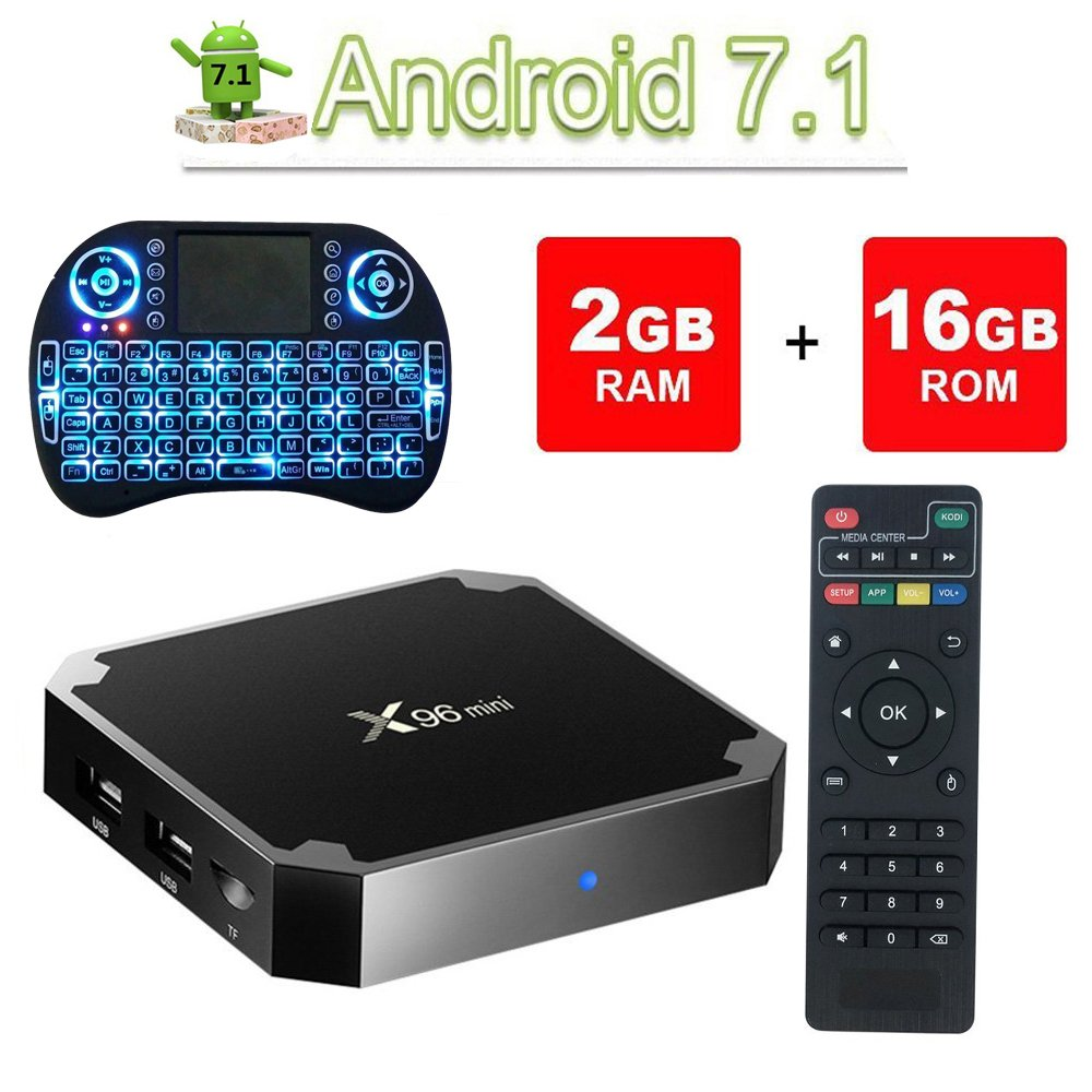 VGROUND X96 Mini Android 7.1.2 TV Box Amlogic S905W Quad-core 64 Bit DDR3 Support 4K UHD 2.4GHz WiFi & LAN VP9 DLNA H.265 64 Bit Set-top Box-2G/16G (Dispatched from CA)
