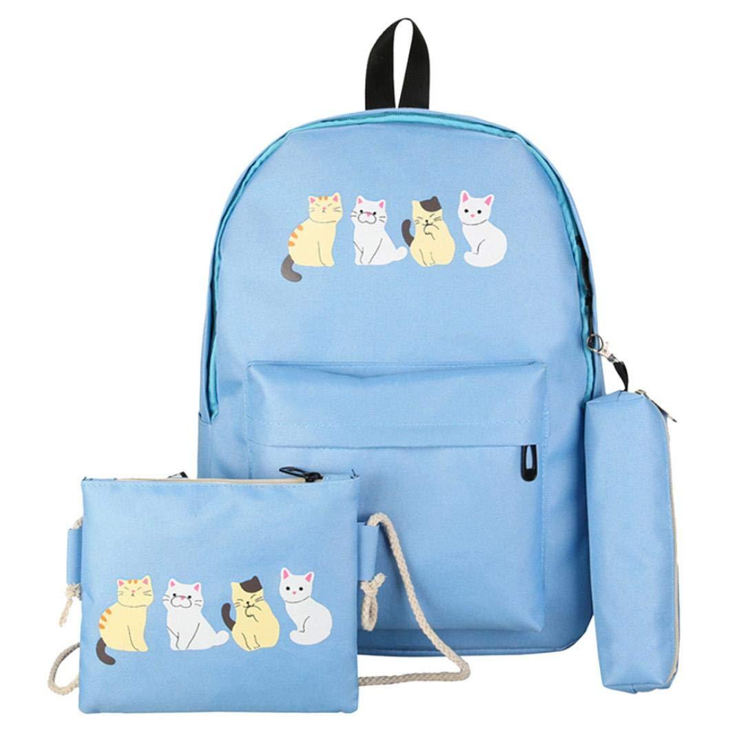 ManxiVoo 3Pcs Student Girls Canvas Cat Print Backpack +Crossbody Bag+Pen Bag, Travel Packsack Knapsack Bags for Women (Blue)