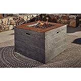 Ashley Furniture Signature Design - Hatchlands Square Fire Pit Table - Includes Stainless Steel Burner, Lava Rock, Burner Cover & Weather Protector