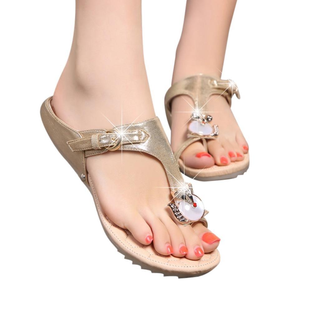Ouneed- Damen Sandalen, Damen Sommer Mode Frauen Strass Flache Ferse Anti Skidding Strand Schuhe Sandalen Slipper34|Gold