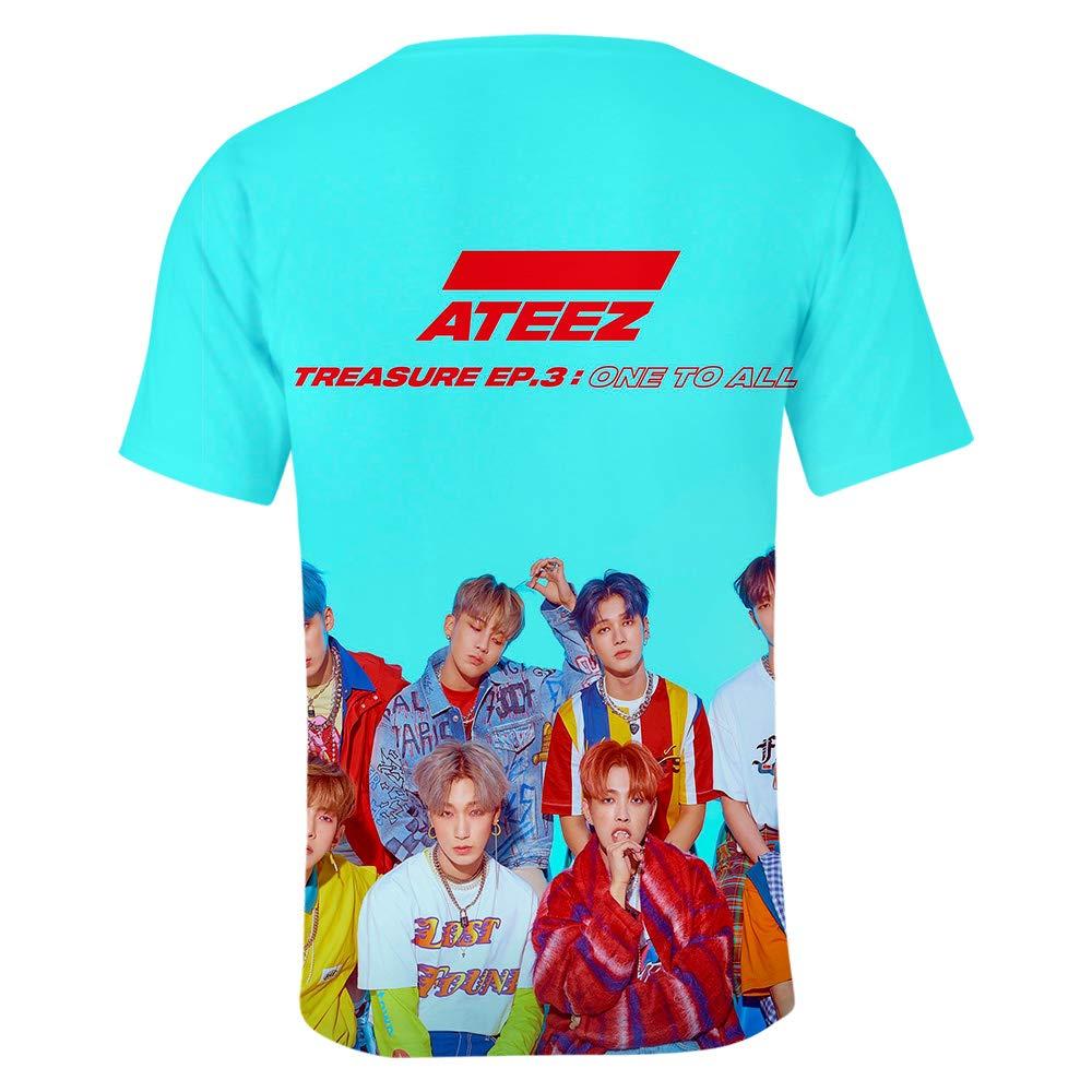 Kpop ATEEZ T-Shirt /à Manches Courtes Kpop Top Femme T-Shirt Tees Impression l/âche Haut T-Shirts de Sport D/ét/é Tee Shirt Chemisiers