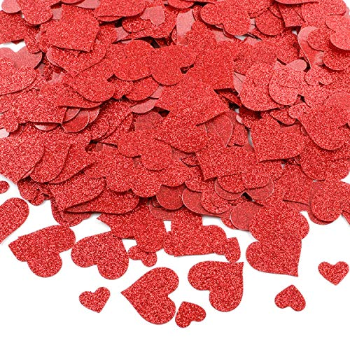 600Pcs Red Glittery Heart Confetti Decoration- Valentine's Day Party Wedding Party Home Decoration Supplies ()