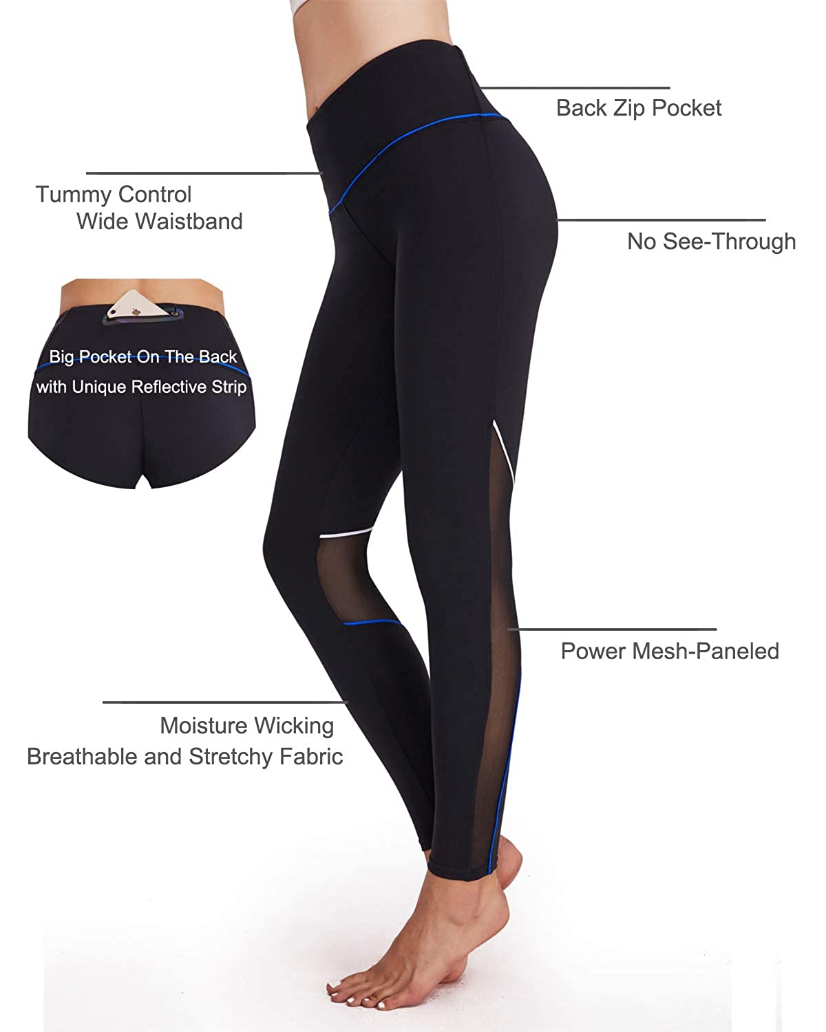 763fef7677 Amazon.com  HAIVIDO Women s High Waist Yoga Pants with Back Zip Pocket  Tummy Control Workout Running Yoga Leggings Mesh Athletic Pants  Clothing