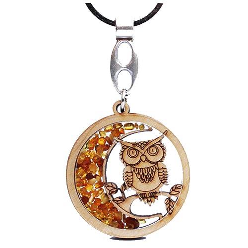 Hecho a mano ámbar y madera llavero/llavero Owl1, hermoso ...