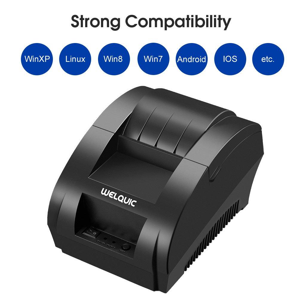 WELQUIC Stampante per Ricevute Termica ad Alta Velocità USB 58 mm,Compatibile con Sistemi Android e iOS, Windows e Linux e Comandi di Stampa ESC/POS 4EBJLQ9K-STDE-F1