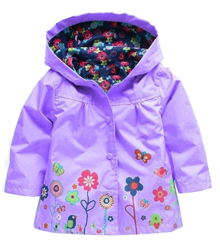 Shiny Toddler Little Girls Kids Waterproof Hoodied Coat Jacket RainCoat Flower Purple 4T