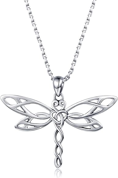 Amazon Com 925 Sterling Silver Dragonfly Pendant Necklace Irish
