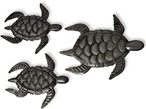 Decorative Sea Turtle Plaques, Set of 3, Swimming Right, Ocean, Beach, Themed, Metal Wall Art, Recycled Steel Haiti Large Turtle 10 x 8, mini turtles 6.5 x 7 Inches