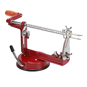 Apple Peeler StainlessSpiral Blades Durable Heavy Duty Chrome Plated Parts VacuumClampSuction Base Easy to Clean Multifunctional PotatoPear Corer Slicer Peelers(Red)