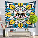 Baisheng Indian Mandala Wall Hanging Tapestry Hippie Tapestries Bedding Bedspread, Picnic Beach Sheet, Table Cloth, Decorative Wall Hanging (Cartoon skull tapestry3-51x59 Inch/130x150 CM)
