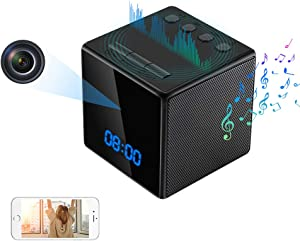 Hidden Camera Clock with Bluetooth Speaker WiFi Spy Camera, 1080P Hidden Nanny Cam with Night Vision and Motion Detection for Real-Time View Baby, Room or Office via APP