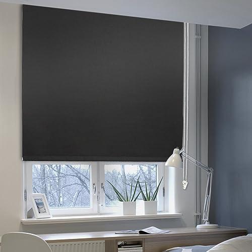 Auralum® Thermo Rollo Thermorollo Verdunkelung Mit Klemmträgern Klemmfix  Ohne Bohren Seitenzug Für Fenster 70x120