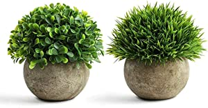 Mini Artificial Plants,Fake Plant for Bathroom/Home Office Decor,Faux Greenery Topiary Shrubs in Pot,Mini Potted Plastic,Fake Green Plant 2 pots