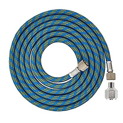 """Master Airbrush Premium 6 Foot Nylon Braided Airbrush Hose with 1/8"""" BSP Size Fittings plus a 1/4"""" BSP Female to 1/8"""" BSP Male Fitting Conversion Adapter"""