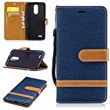 KKEIKO LG K8 2017 Leather Case [with Free Tempered Glass Screen Protector], LG K8 2017 Premium Notebook Style Flip Wallet Case, Protective Bumper Cover (Dark Blue)