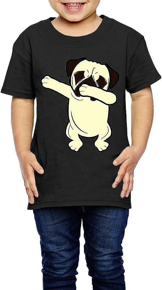 Shanala Dabbing Pug Age 2-6 Kids T-Shirt for Girls Boys Black