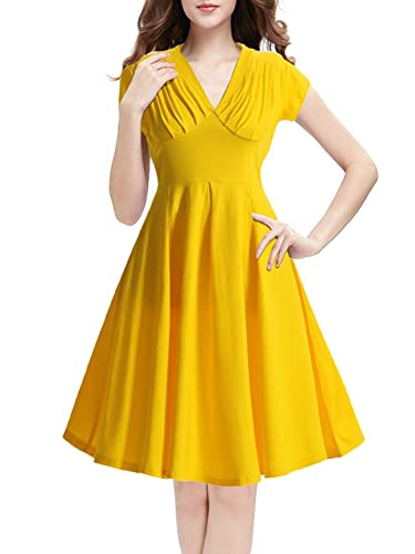 IHOT Womens V Neck Cap Sleeve Vintage Bridesmaid Cocktail Party Dress