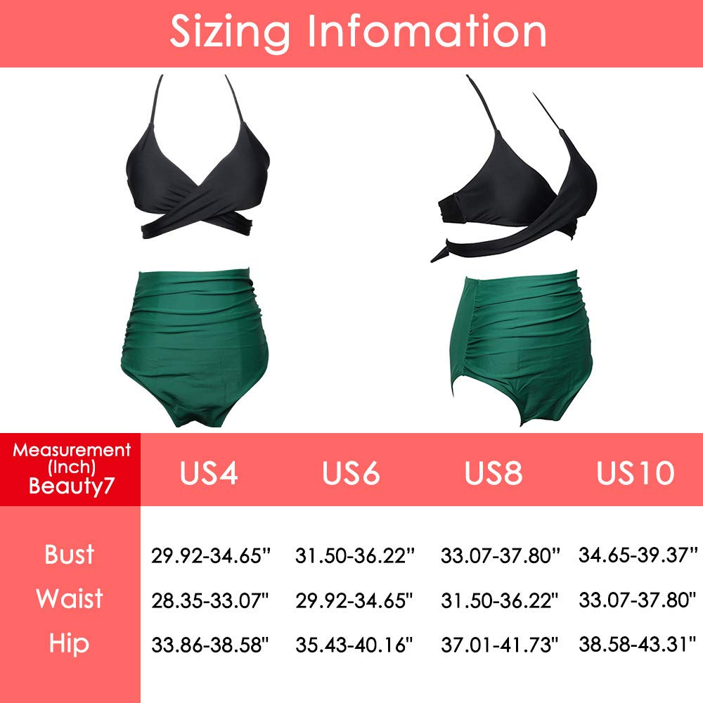 44c9887e9d Amazon.com: Beauty7 Women Bikini Two Piece Cross Wrap Halter Push up  Padding Top High Waisted Ruched Bottom Swimsuit Bathing Suit: Clothing