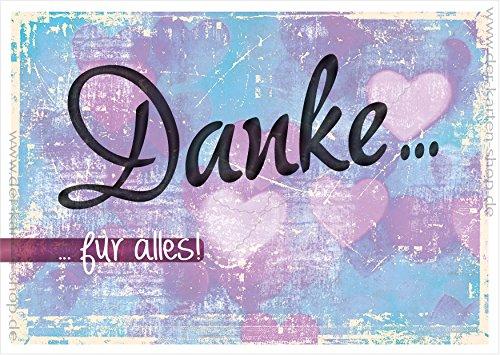 3 Stück Schöne Retro Postkarten Spruchkarte Karte Mit Herzen Und