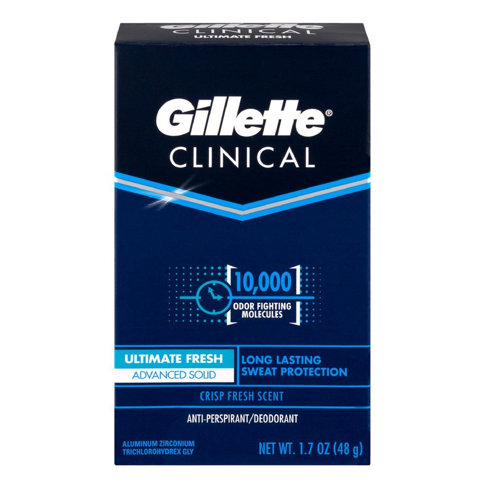 Gillette Clinical Anti-Perspirant Deodorant, Ultimate Fresh Advanced Solid 1.70 oz (Pack of 12)