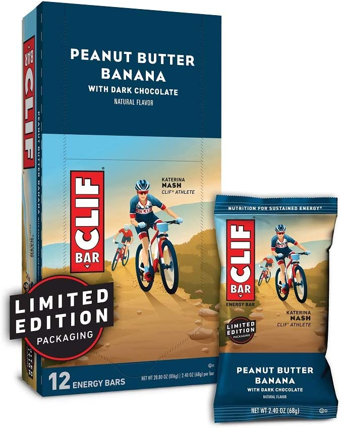 CLIF BAR - Energy Bars - Peanut Butter Banana Dark Chocolate - (2.4 Ounce Protein Bars, 12 Count) Packaging May Vary